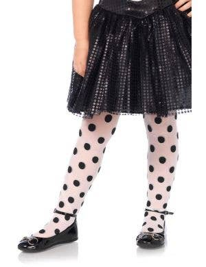 Girls Black And white Polka Dot Stockings