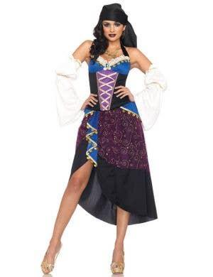 Women's Sexy Purple Gypsy Fortune Teller Costume Main