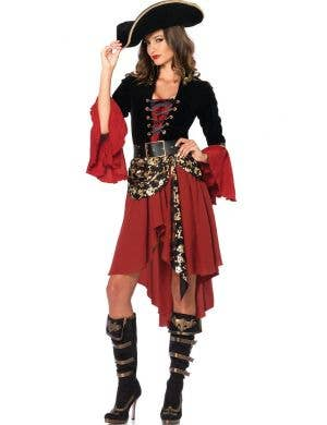 Women's Deluxe Red Pirate Costume Front View
