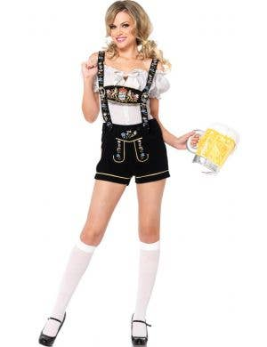 Deluxe German Lederhosen Sexy Women's Costume Front View