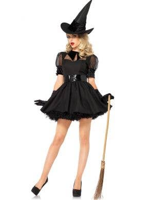 Sexy Black Witch Women's Deluxe Halloween Costume Main View