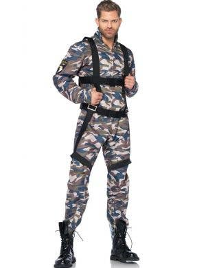 Paratrooper Men's Army Fancy Dress Costume Front View