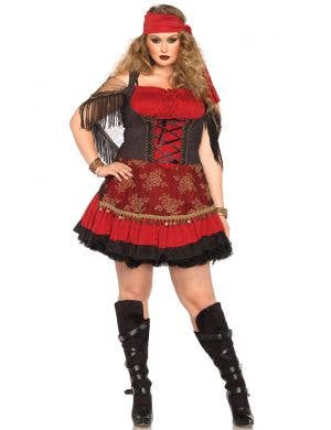 Plus Size Women's Red Gypsy Costume Main View