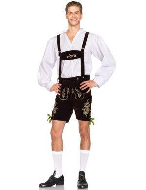Men's Lederhosen Deluxe Fancy Dress Costume Main
