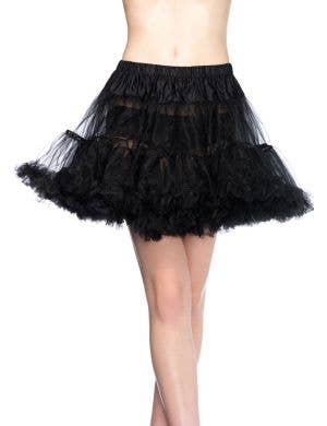 Black Thigh Length Ruffled Costume Petticoat
