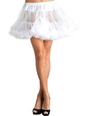Ruffled Thigh Length White Costume Petticoat