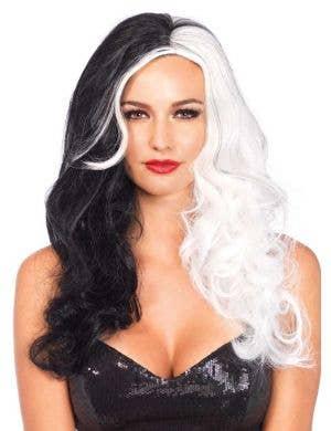 Black And White Cruella De Vil Deluxe Costume Woig