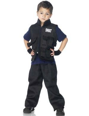 Boy's SWAT Police Officer Uniform Book Week Costume Front View