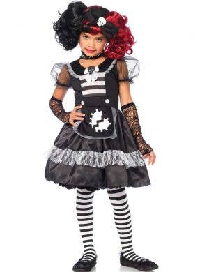 Rag Doll Girl's Black and White Halloween Fancy Dress Front