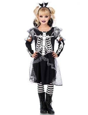Skeleton Princess Girl's Halloween Costume Dress Front