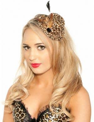 Leopard Print Burlesque Mini Top Hat