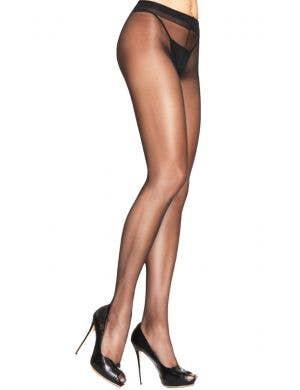 Women's Full Length Black Sheer To Waist Costume Stockings