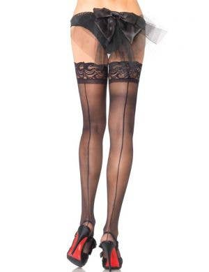 Sheer Black Thigh High Stockings with Backseam Front View