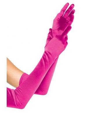 Women's Extra Long Pink Satin Gloves Costume Accessory