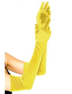 Women's Extra Long Yellow Satin Gloves Costume Accessory