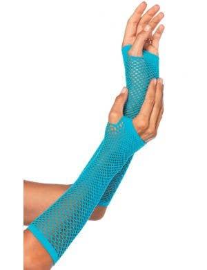 Women's Blue Long Fishnet Fingerless Costume Gloves