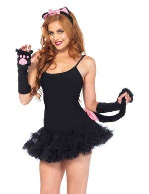 Women's Pink and Black Cat Costume Kit Front View