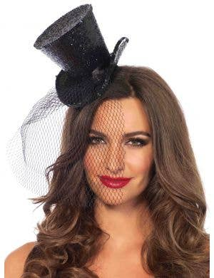 Women's Mini Black Top Hat with Glitter Costume Accessory