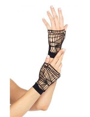 Distressed Black Net Women's Fingerless Costume Gloves