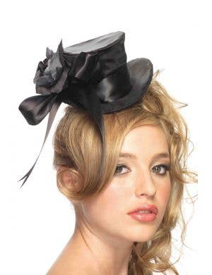 Satin Mini Rose and Bow Top Hat - Black