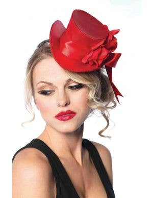 Satin Red Mini Top Hat with Rose and Bow