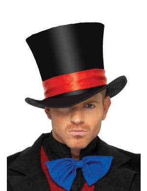 Red and Black Satin Top Hat Costume Accessory