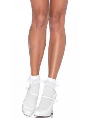 Lace Top Women's White Opaque Anklet Socks