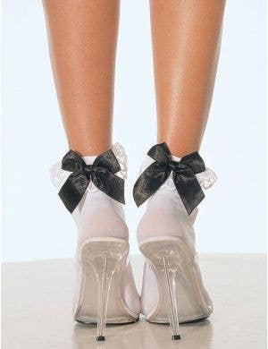 Women's White Costume Ankle Socks With Black Bow