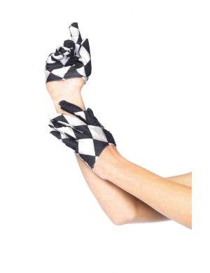 Black and White Cropped Harlequin Women's Gloves