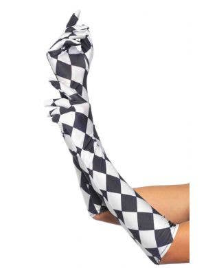Black And White Harlequin Costume Gloves Main Image