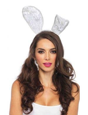 White Lace Bunny Ears Costume Accessory