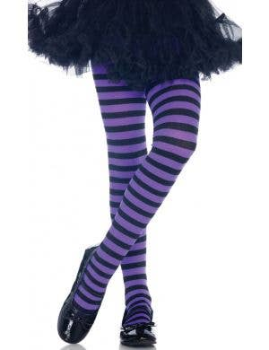 Striped Girl's Purple and Black Costume Accessory Tights