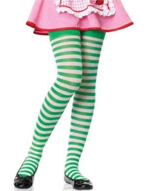 Striped Girl's White And Green Costume Accessory Tights
