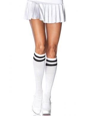 White Knee High Socks with Black Stripes Costume Accessory