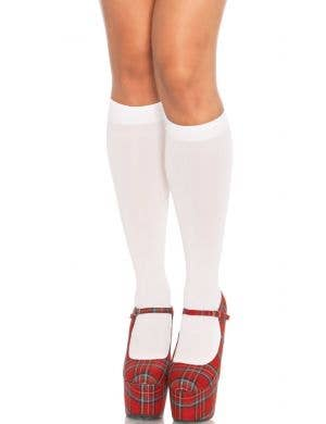 Opaque White Knee High Stockings
