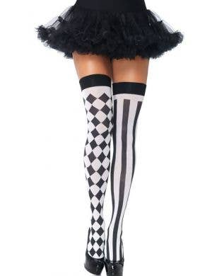 Harlequin Striped Black And White Costume Thigh High Stockings