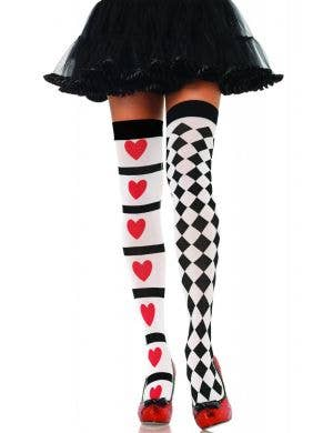 Thigh High Queen of Hearts Women's Costume Stockings