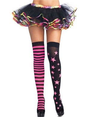 Neon Pink Stars and Stripes Thigh High Stockings Front View
