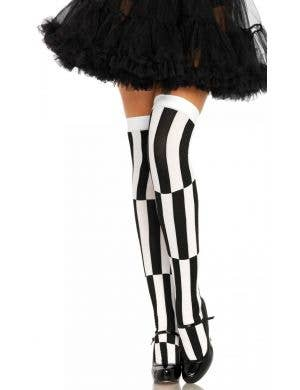 Optical Illusion Black and White Striped Thigh High Stockings