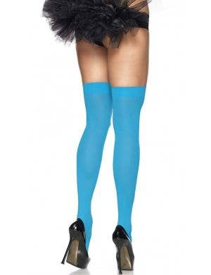 Women's Sexy Bright Blue Thigh High Costume Stockings