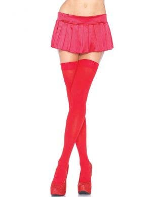 Women's Sexy Bright Red Thigh High Costume Stockings