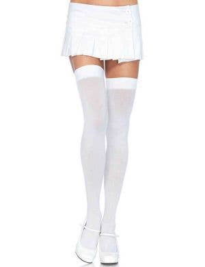 Sexy White Thigh High Opaque Costume Stockings