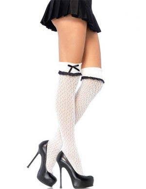 White Crochet Over The Knee Socks Front View