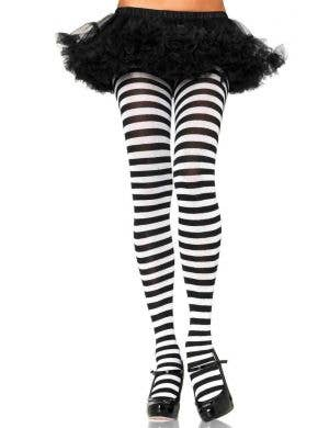 Women's Black and White Striped Full Length Halloween Pantyhose