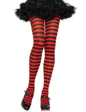 Women's Red and Black Striped Full Length Plus Size Halloween Pantyhose
