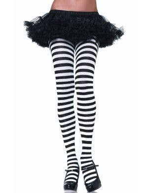 Women's Black and White Striped Full Length Plus Size Halloween Pantyhose