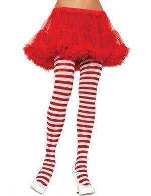 Women's Red and White Striped Full Length Plus Size Halloween And Christmas Pantyhose