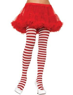 Women's Red and White Striped Full Length Halloween And Christmas Pantyhose