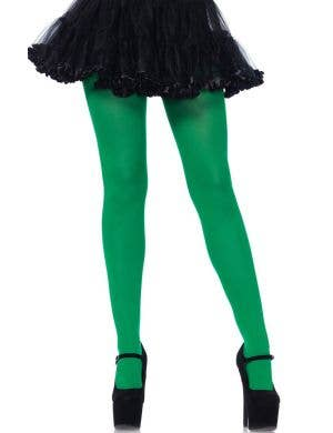 Leg Avenue Deep Kelly Green Opaque Women's Pantyhose Stockings