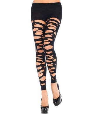 Black Tattered Halloween Tights Costume Accessory Front View